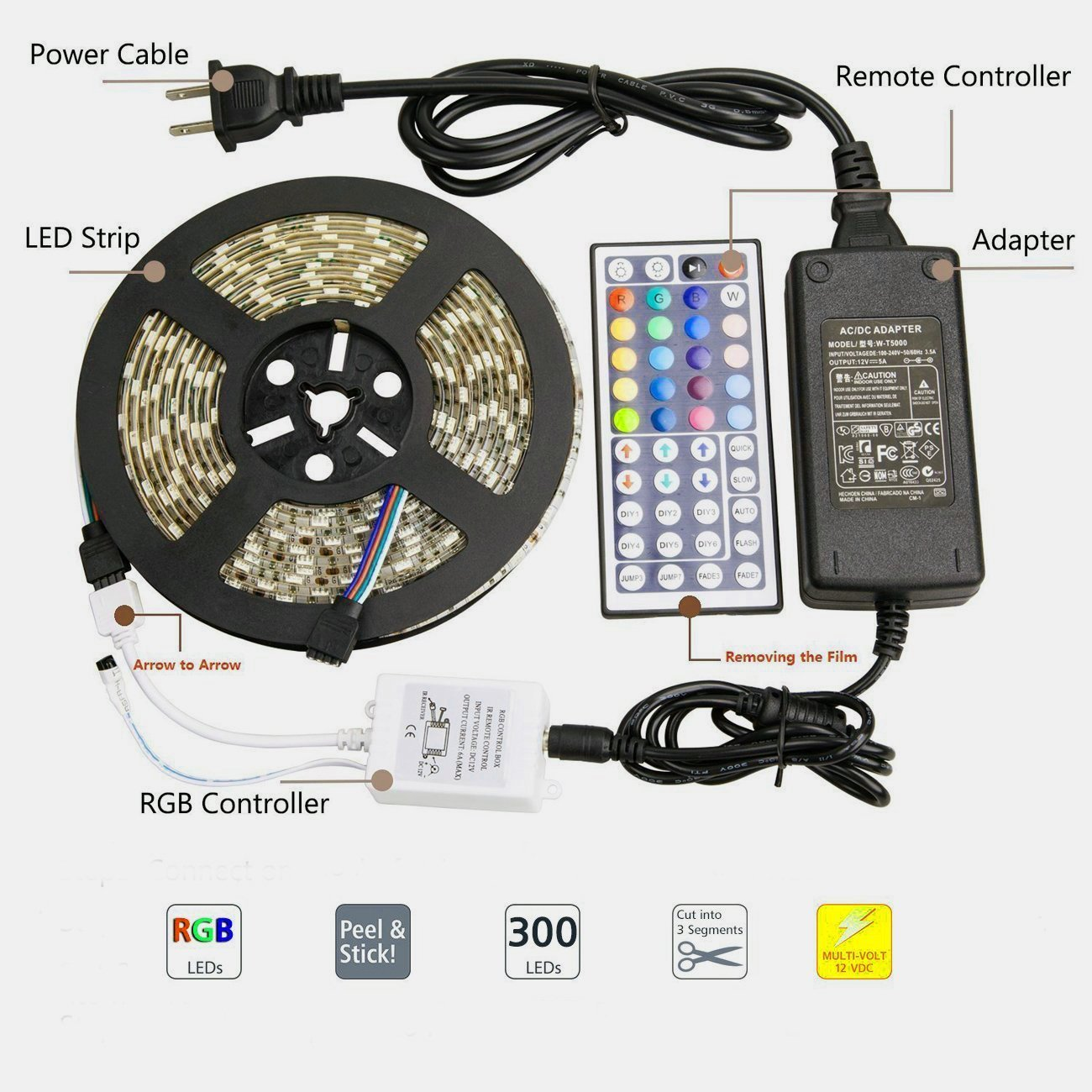 LED Light Strip Kit, Targher RGB LED Strip Waterproof SMD 5050 RGB 16.4Ft/5M 300 LEDs with 44Key Remote Controller and Power Supply for Holiday Party Outdoor Decoration by Targher (Image #3)