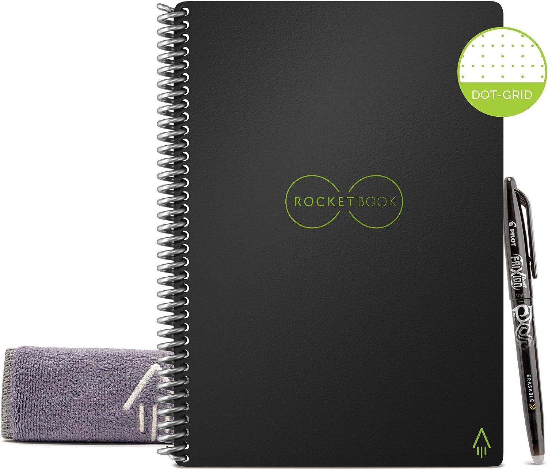 Rocketbook EVR-E-R Notebook riutilizzabile con Panno e Penna Inclusi, 15.24 cm x 22.35 cm, Nero (Infinity Black)