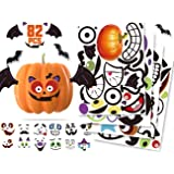 KIDPAR 82Pcs Halloween Pumpkin Stickers, 33 Funny and Classic Pumpkin Expressions Stickers for Pumpkins and Squashes…