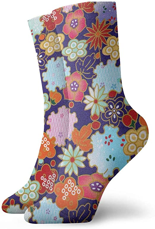WEEDKEYCAT Colorful Flowers Adult Short Socks Cotton Fun Socks for Mens Womens Yoga Hiking Cycling Running Soccer Sports