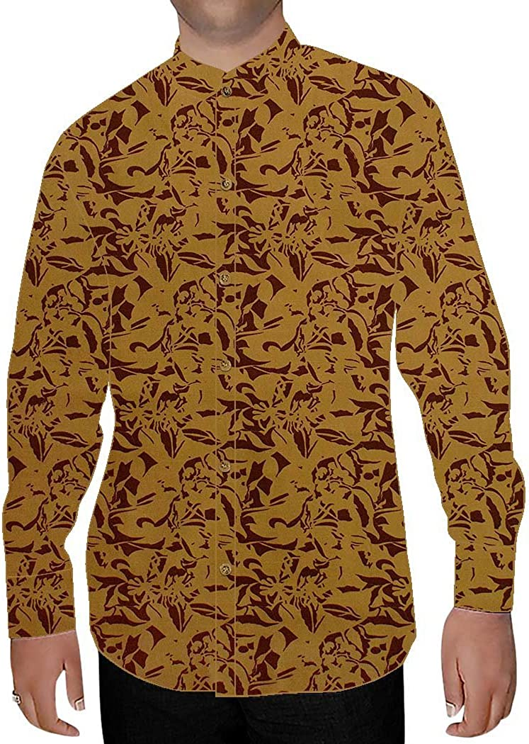 INMONARCH Mens Rust Printed Nehru Collar Shirt Beach NSH15284CUSTOM-MADE Custommade Rust