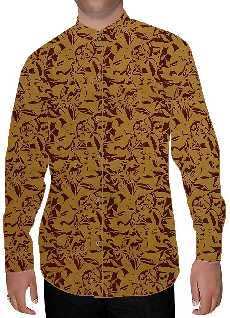 INMONARCH Mens Rust Printed Nehru Collar Shirt Beach NSH15284XX-LARGE XX-Large Rust