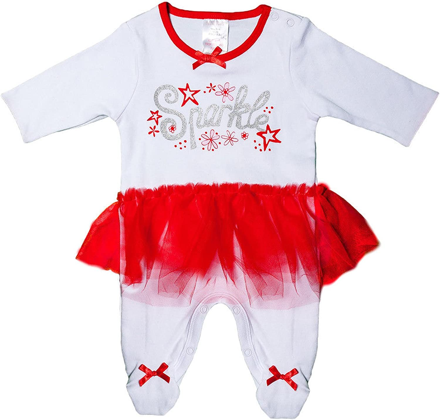BABY TOWN Baby Girl Fairy Sparkle Christmas Cotton Sleepsuit with Tutu Newborn 9 Months