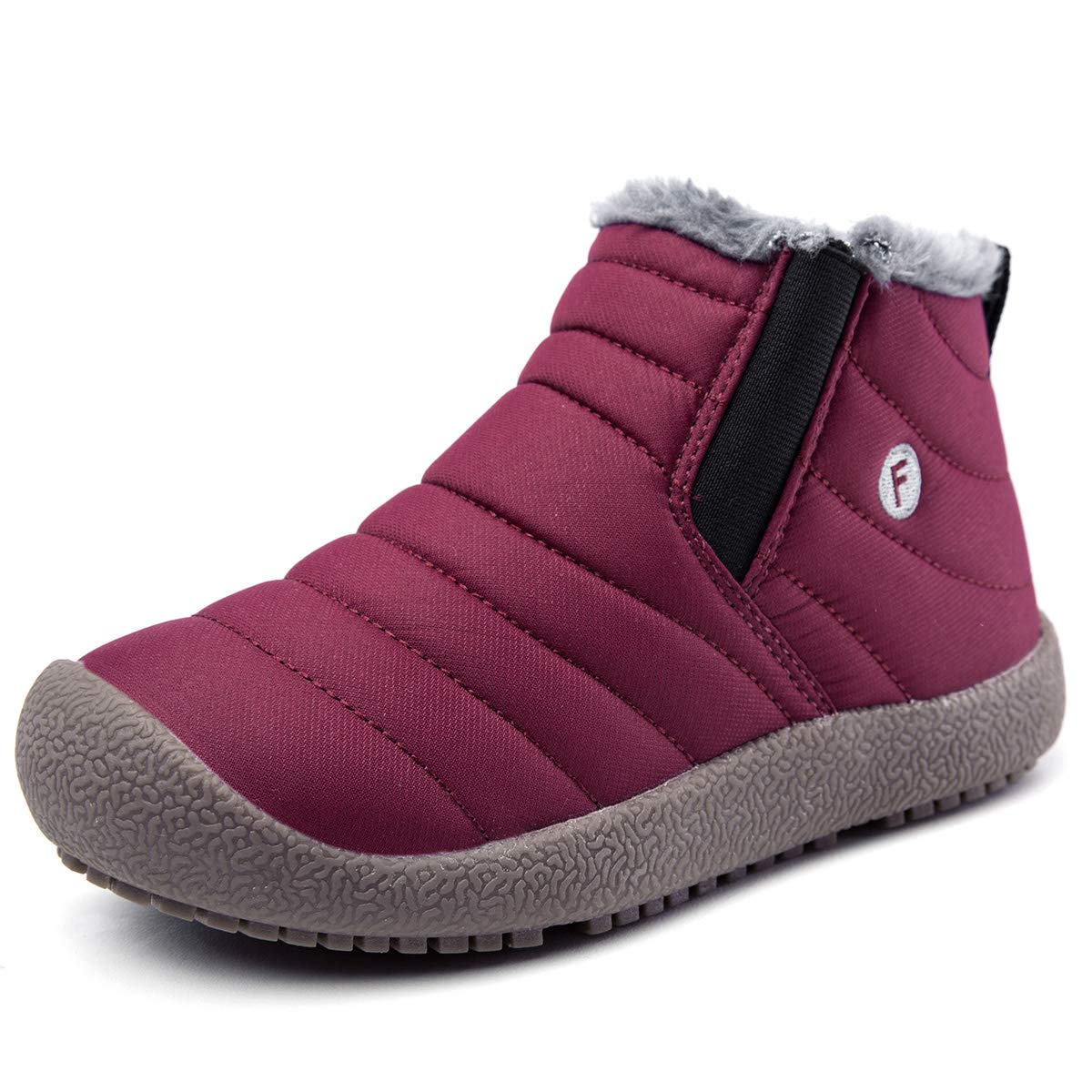 EXEBLUE Boys Girls Water-Resistant Winter Snow Boots, Unisex Kids Ankle Booties with Fur Lining for Outdoor Red Wine