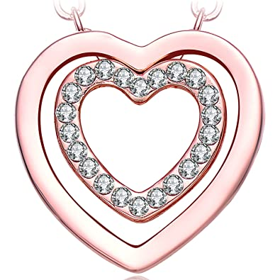 NEEMODA Heart Pendant Necklace for Women Crystal Fashion Jewellery Gifts for Her Rose Gold Plated Amazon.co.uk Jewellery  sc 1 st  Amazon UK & NEEMODA Heart Pendant Necklace for Women Crystal Fashion Jewellery ...