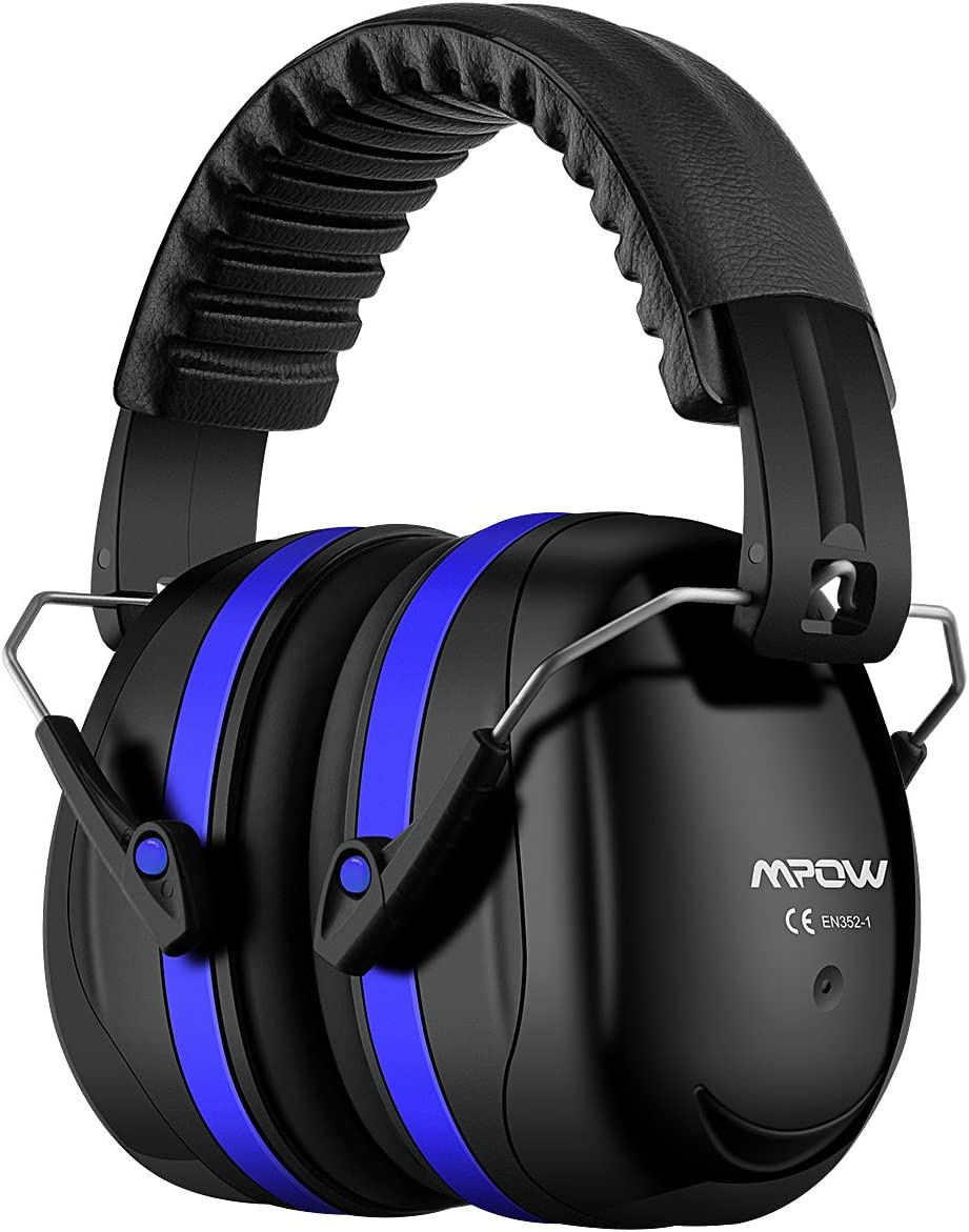 Mpow 035 Noise Reduction Safety Ear Muffs, Shooters Hearing Protection Ear Muffs, Adjustable Shooting Ear Muffs, NRR 28dB Ear Defenders for Shooting Hunting Season, with a Carrying Bag-Dark Blue