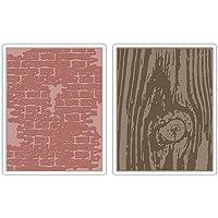 Sizzix Texture Fades–Carpetas para Estampados 2pk–Bricked & Madera