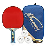 4 Star Professional Ping Pong Paddles - Table Tennis Bats - Advanced Training Table Tennis Racket with 1 Carry Case and 3 Balls (1 Racket)