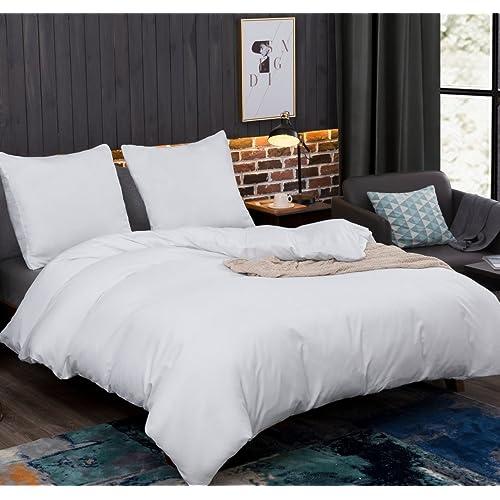 AYSW Sets de Housse de Couettes 220x240cm + 2taies d'oreillers 65x65cm Parure de lit pour 2 Personnes Blanc