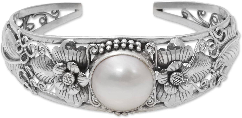 NOVICA White Cultured Mabe Pearl .925 Silver Cuff Bracelet, Moonlight Vines'