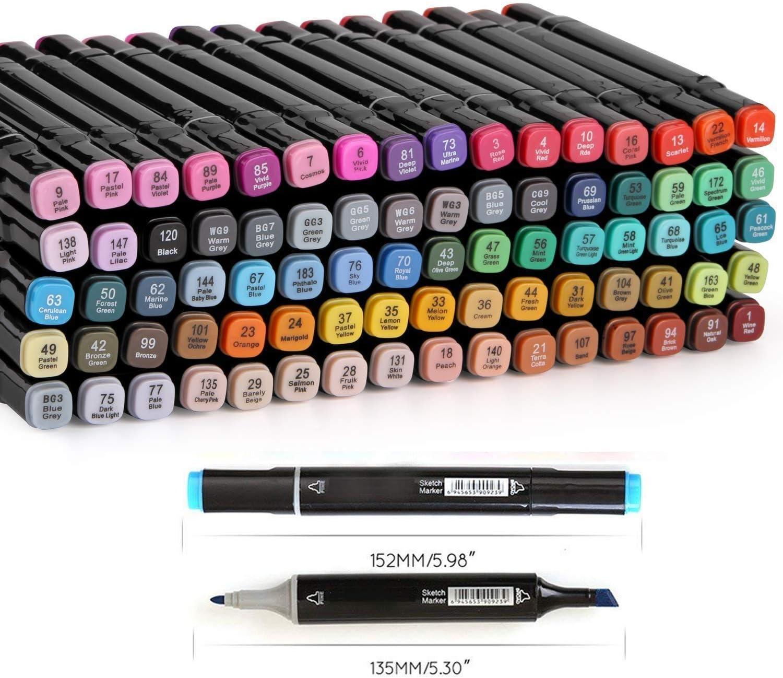 Tiza Adultos 100 Colores Rotuladores Art/ísticos para Graffiti Pintura Dibujo Marcadores de Punta Doble Artistas MH-100W Manga,Ideal para Ni/ños
