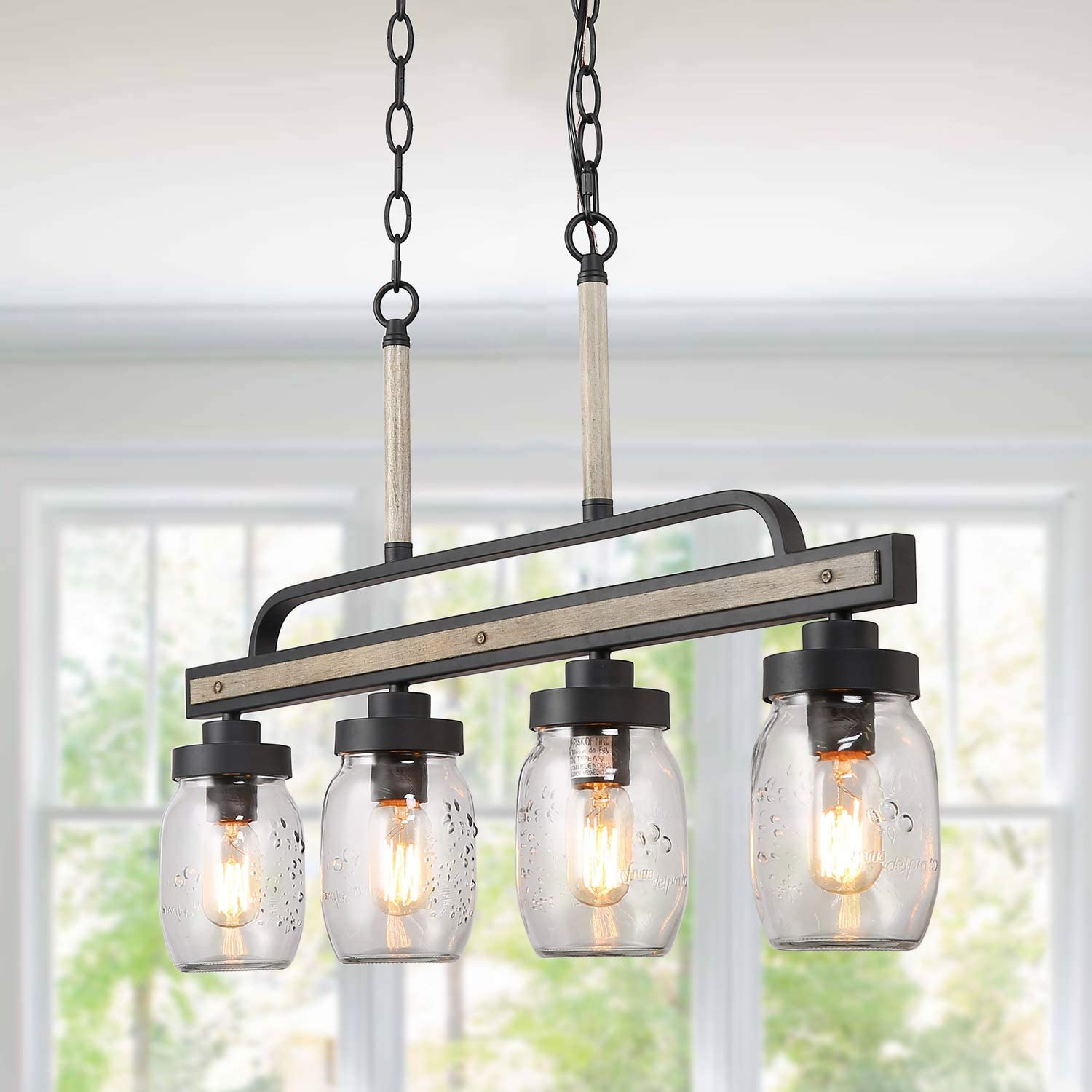 LOG BARN Rustic Mason Jar Pendant Lighting for Kitchen, 4 Lights Farmhouse Chandelier in Distressed Faux Wood and Dark Grey Metal Finish, 30 Large Dining Room Linear Lighting