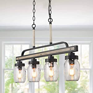 """LOG BARN Rustic Mason Jar Pendant Lighting for Kitchen, 4 Lights Farmhouse Chandelier in Distressed Faux Wood and Dark Grey Metal Finish, 30"""" Large Dining Room Linear Lighting, A03512"""