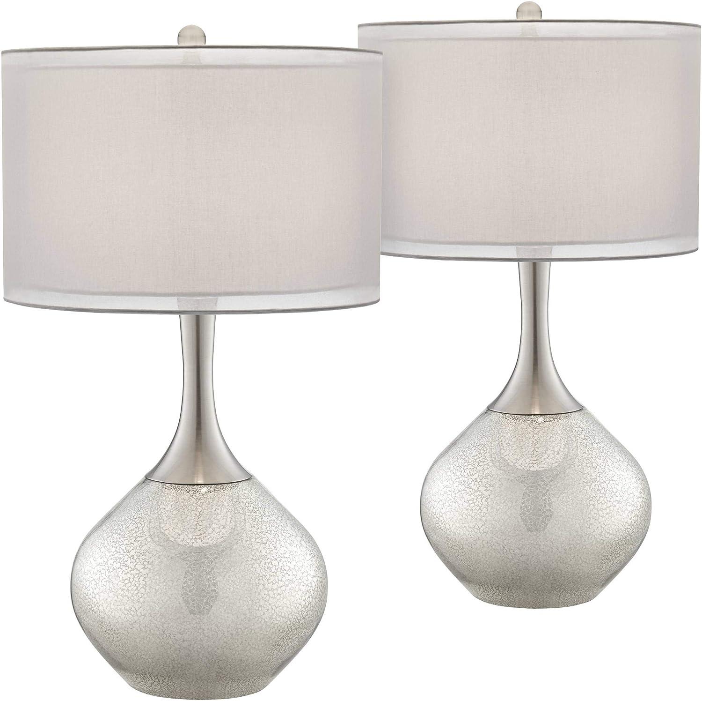 Swift Modern Table Lamps Set Of 2 Mercury Glass Chrome Twin Sheer Drum Shade For Living Room Family Bedroom Bedside Possini Euro Design Amazon Com