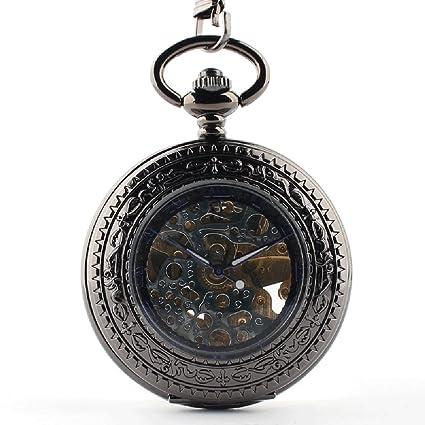 QB-Pocket watches Lupa flip reloj mecánico de bolsillo reloj de mesa de los hombres