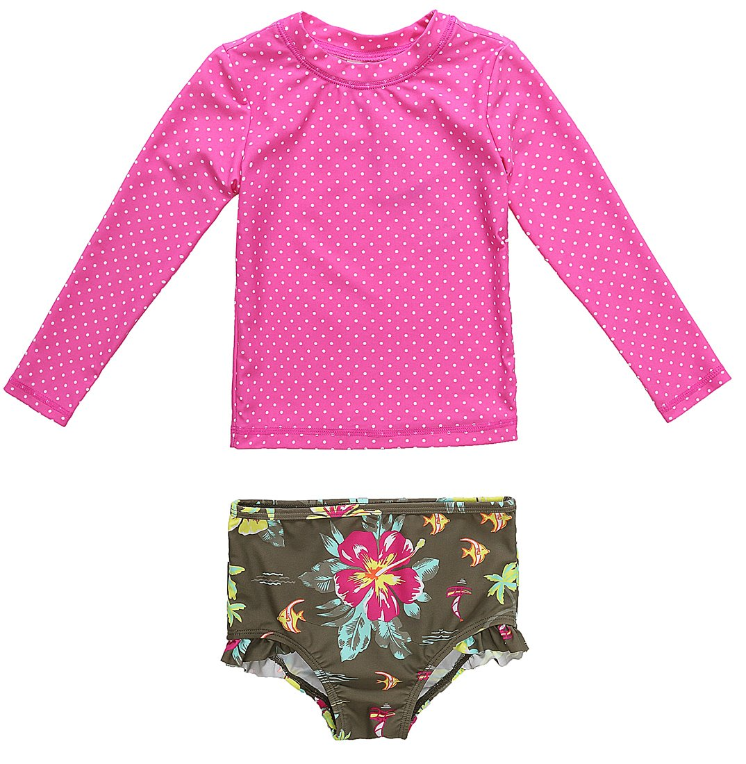 CharmLeaks Girls Sun Protection 2 Piece Fruits Swimsuit UV Protection Girls Rash Guard, 9 Months, Pink