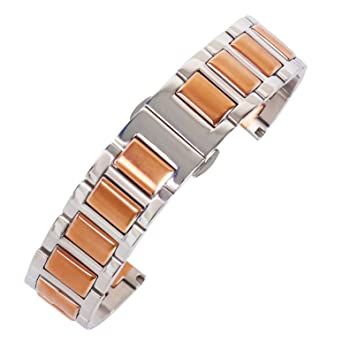 db91c28e96b 20mm Brilliant Superior Metal Watch Band Bracelet Solid 304 Inox Steel in  Two Tone Silver and