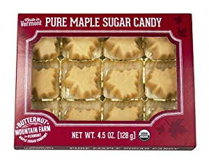 Butternut Mountain Farm 100% Pure Organic Maple Sugar Candy From Vermont, All Natural, 12 Leaf Candies, 4.5 oz Box