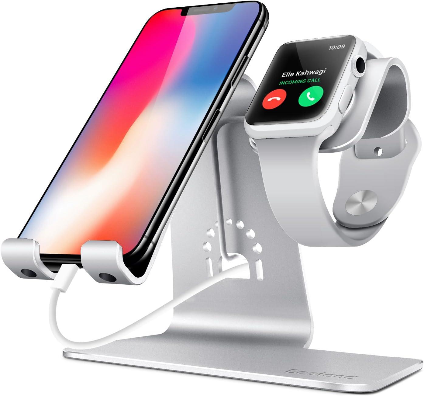 Bestand - Soporte Dual Móvil y Reloj, Aluminio Stand para Teléfonos/Apple Watch, BQ/ Sumsung / iPhone / iPad y Relojes – Plata