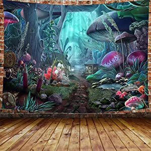 DBLLF Psychedelic Tapestry Mushroom Castle Tapestry Fairy Tale Tapestry Green Plants in Forest Wall Hanging Spring Scenery Tapestries for Bedroom Living Room Dorm Party Decor 80×60 inches DBLS774