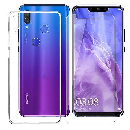 JIENI Funda Huawei Nova 3i / Huawei P Smart Plus + Protector Pantalla Suave Transparente TPU Cover + Cristal Vidrio Templado Silicona Caso Bumper ...