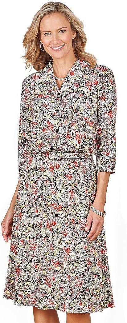 AmeriMark Women's Paisley Shirtwaist Dress Knee Length Elastic ...