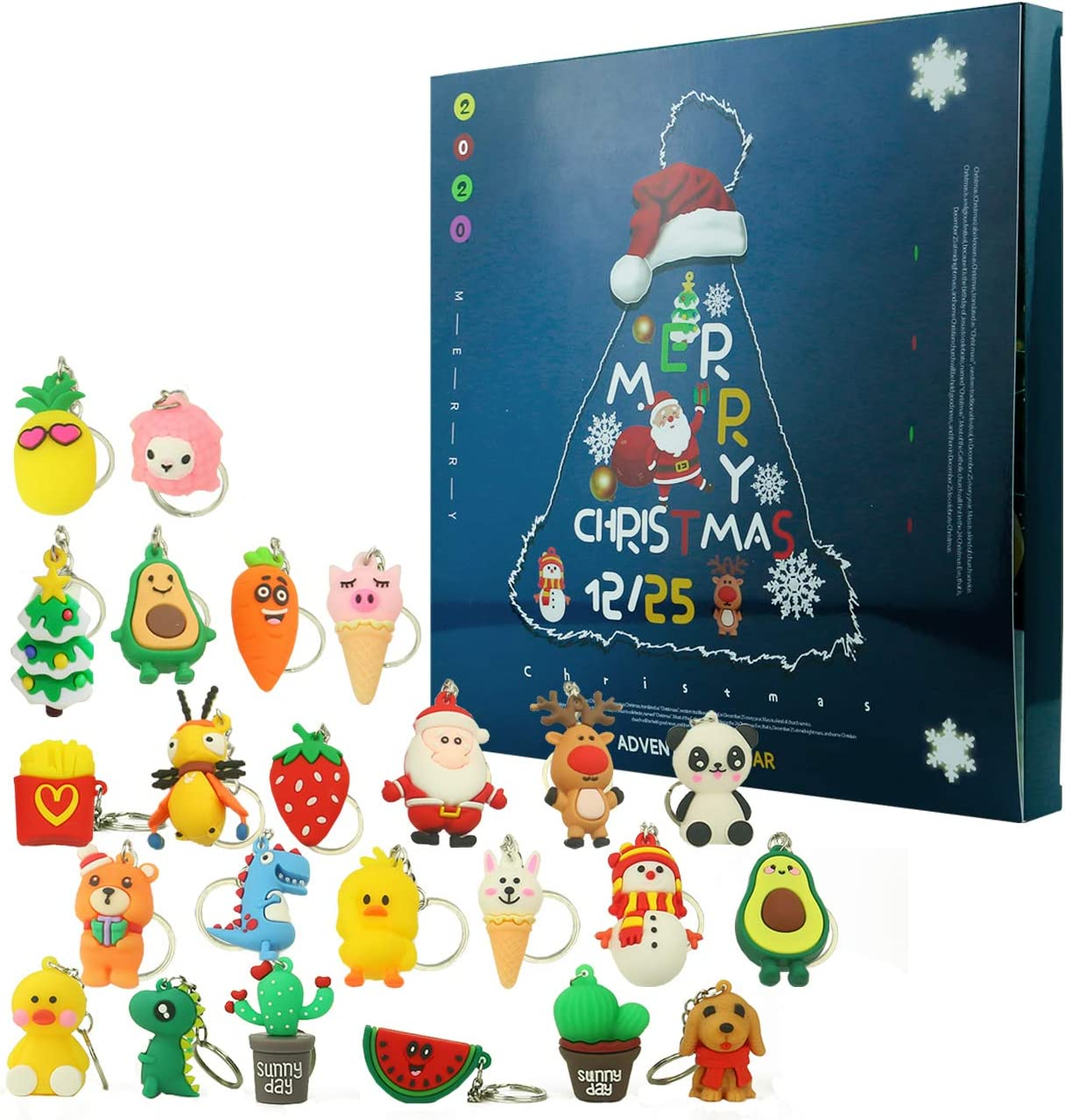 Ogrmar Christmas 2020 Advent Calendar for Kids Holiday Countdown Calendar with 24 Pcs Micro Lovely Silicone Doll Key Ring Christmas for Childrens