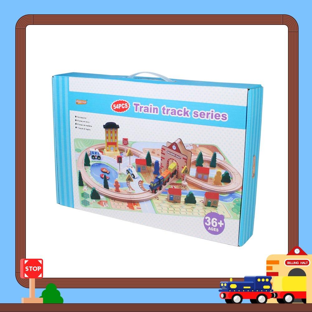Akokie Tren Juguete Pista Madera Circuito Ferrocarril Coche Juguete para Niños 3+ (54 Piezas)
