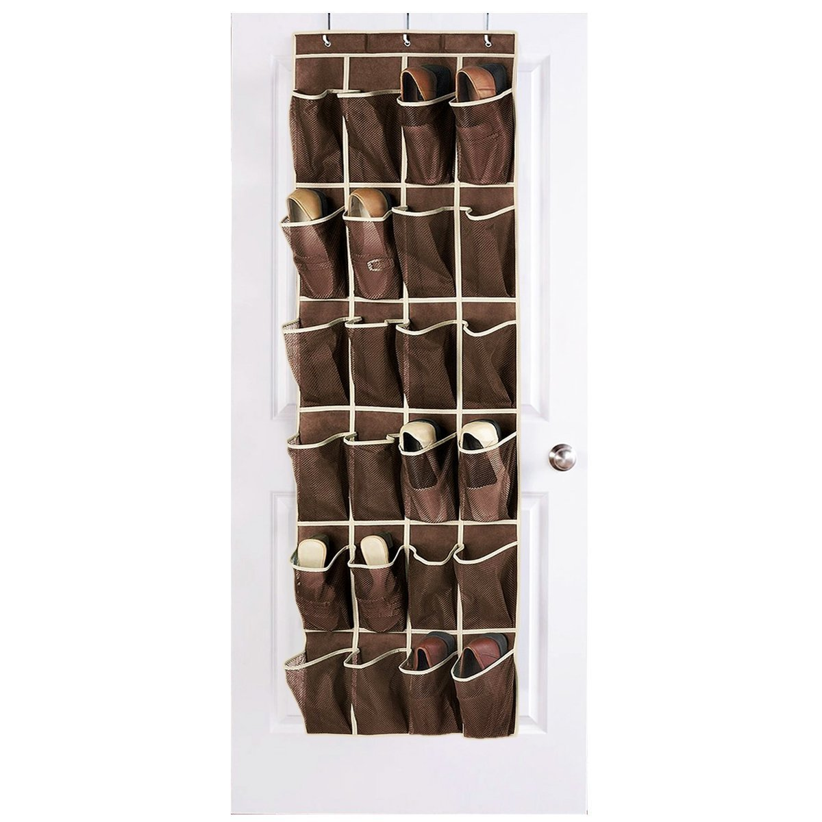 Hippih Over the Door Shoe Organizer with 24 Reinforced Pockets Hang on standard doors with 3 hooks,64\'\' x 19\'\'