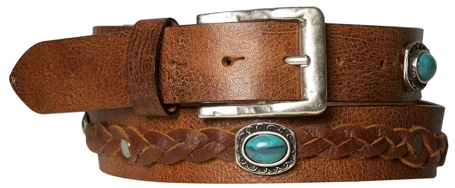 FRONHOFER Bold boho-style women's leather belt with turquoise studs, brown, Size:waist size 39.5 IN XL EU 100 cm, Color:Brown