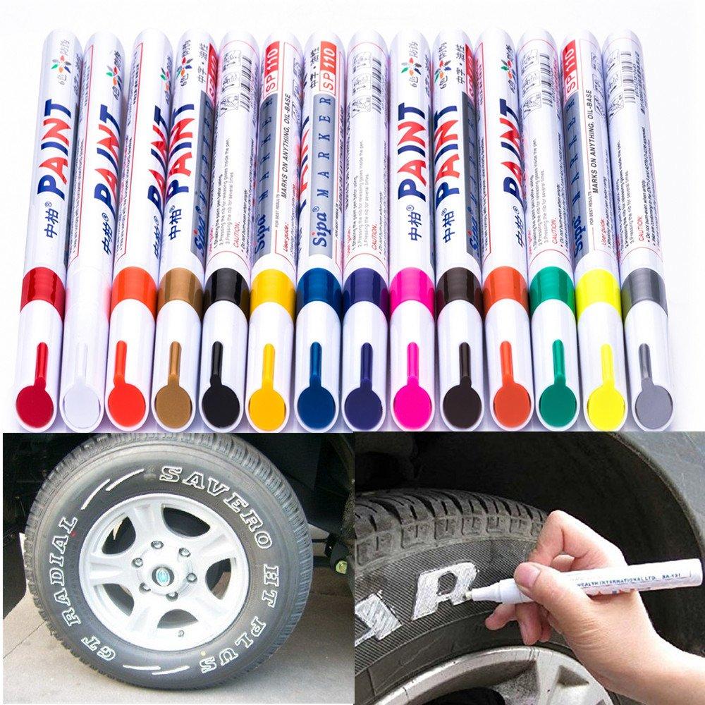 Marcador de pintura blanca a base de aceite de plástico de vidrio de madera Pluma impermeable para neumáticos de goma G
