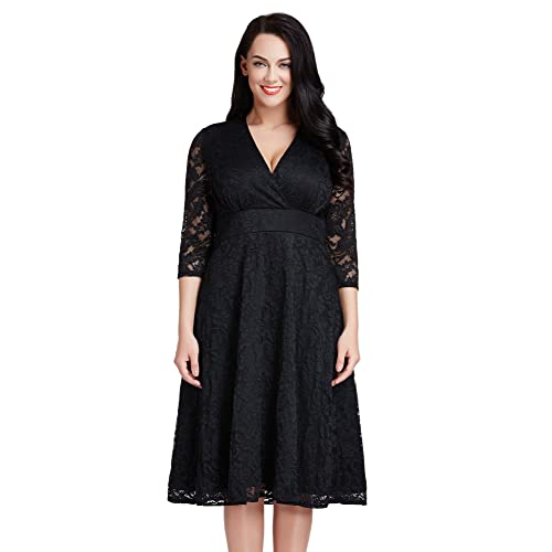 Lookbook Store Womens Plus Size Lace Bridal Formal Skater Dress 12W-32W