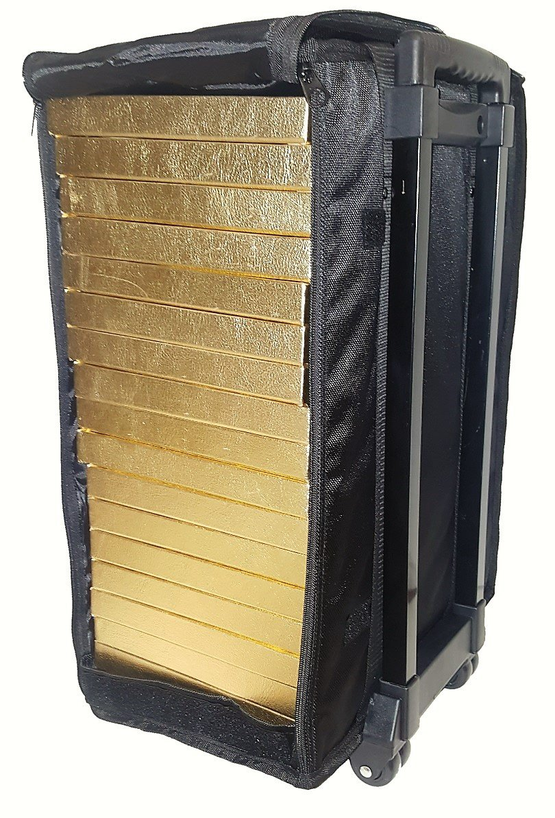 888 Display Large Jewelry Display Rolling Carrying Case w/17 Trays (Shiny Textured Gold) by 888 Display USA (Image #3)
