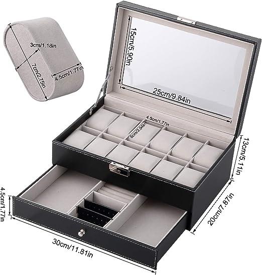 Caja para Relojes Estuche para Relojes y joyeros con 2 Capas 12 Compartimentos: Amazon.es: Relojes