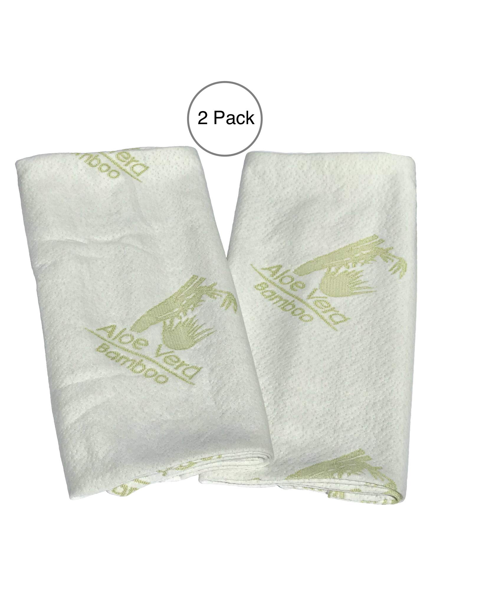 2-Piece Set Bamboo Pillow Protector Cover - Fits Queen and Standard Pillows - Premium Zippered encasement case-Dust Mite-Bed Bug Proof - Hypoallergenic-Cooling - Aloe Vera Infused