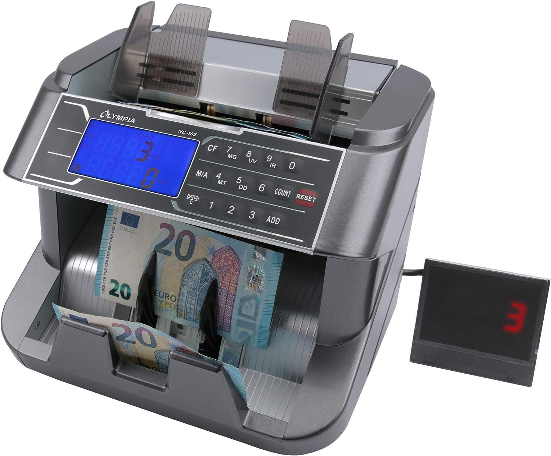 Olympia NC 455 Geldz/ählmaschine /& Geldscheinpr/üfer f/ür Scheine, Echtheitspr/üfung, Additionsfunktion, LCD-Display, Geldscheinz/ähler f/ür Euro, Dollar, Pfund etc., mit Update-Funktion