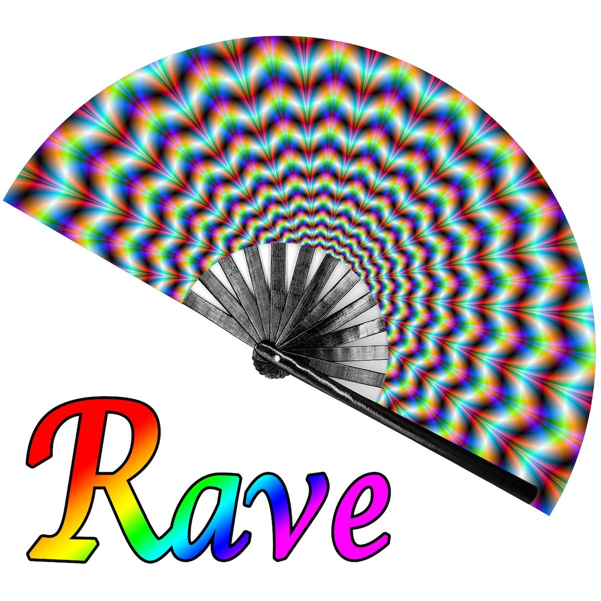 OMyTea Large Rave Clack Folding Hand Fan for Men/Women - Chinese Japanese Bamboo Handheld Fan - for EDM, Music Festival, Club, Event, Party, Dance, Performance, Decoration, Gift (Trippy) by OMyTea