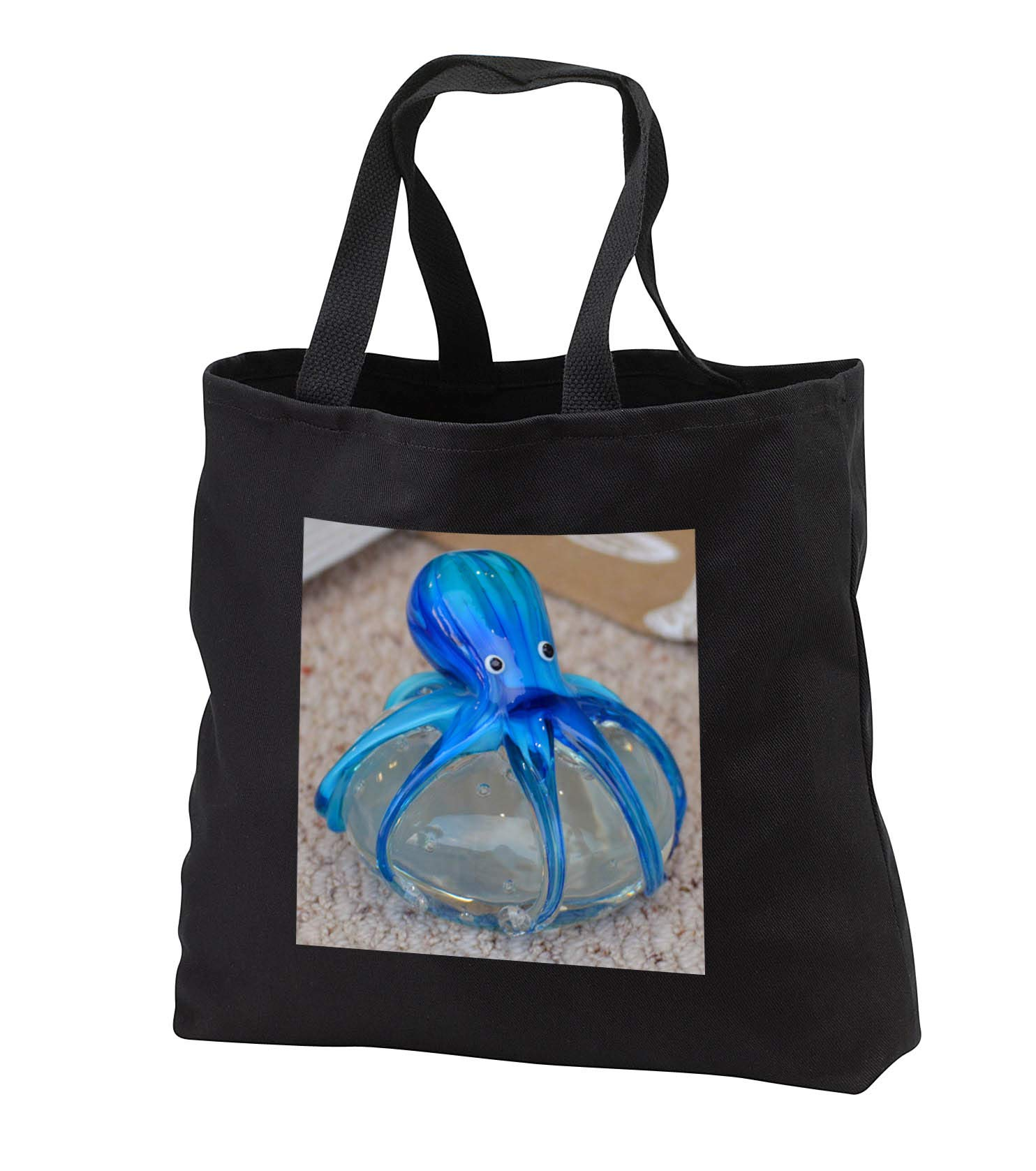 Susans Zoo Crew Animal - blue glass octopus art animal - Tote Bags - Black Tote Bag 14w x 14h x 3d (tb_294098_1)