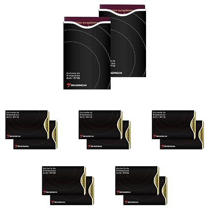 Dragon Can – Protectores de tarjetas de crédito y de Passport. Pack: (Pack: 10 carcasas anti-nfc/RFID y 2 fundas de pasaporte anti-nfc/RFID bloqueo)