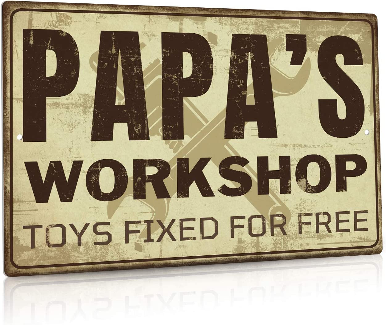 Putuo Decor Garage Decor Metal Tin Sign, Papa's Workshop Toys Fixed for Free, 12 x 8 Inches
