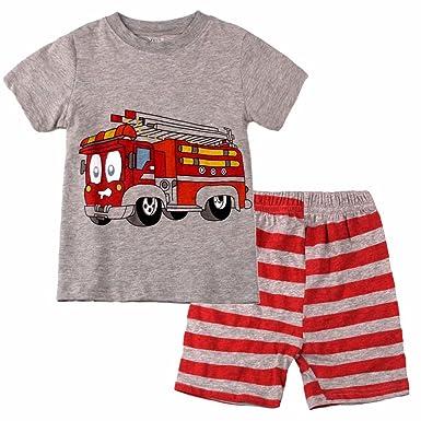 25ca9919df7c Amazon.com  Dizoon Kids Fire Truck Pajamas Sets  Clothing