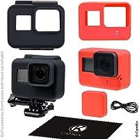 CamKix etuis en silicone compatible avec Gopro Hero 5 Black - 2 étuis de protection - Noir (Cadre) / Rouge (Caméra) - Protection contre la poussière, les rayures et les chocs légers
