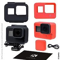 Etuis en Silicone pour Gopro Hero 6 / 5 Black -2 étuis de protection - Noir (Cadre) / Rouge (Caméra) - Protection de votre appareil GoPro Hero5 et du cadre