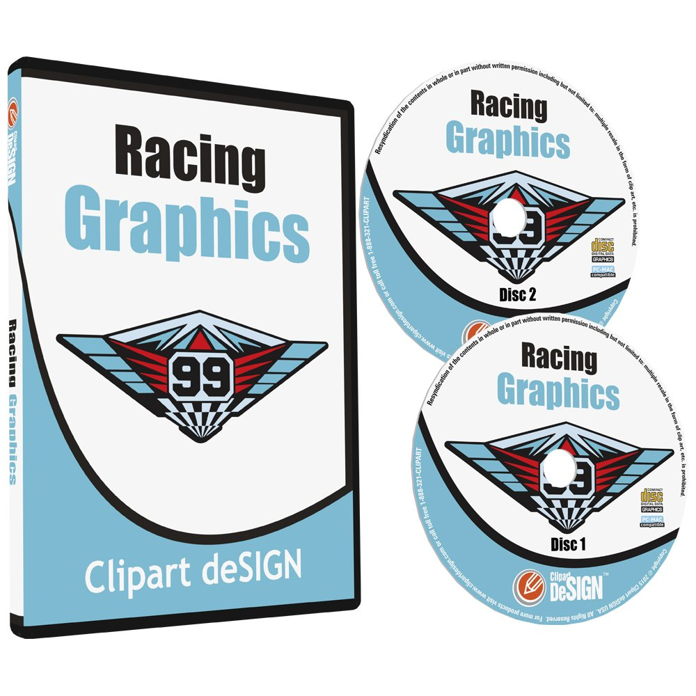Racing Graphics Clipart-Vinyl Cutter Plotter Race Car Images-Vector Clip Art CD by Clipart deSIGN USA