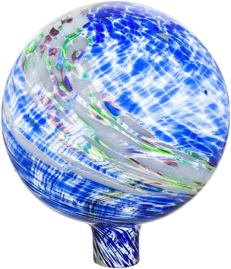 Evergreen Garden Beautiful Blue and Green Glow in The Dark Glass Gazing Ball - 10 x 10 x 12 Inches Fade and Weather Resistant Outdoor Decoration for Homes, Yards and Gardens