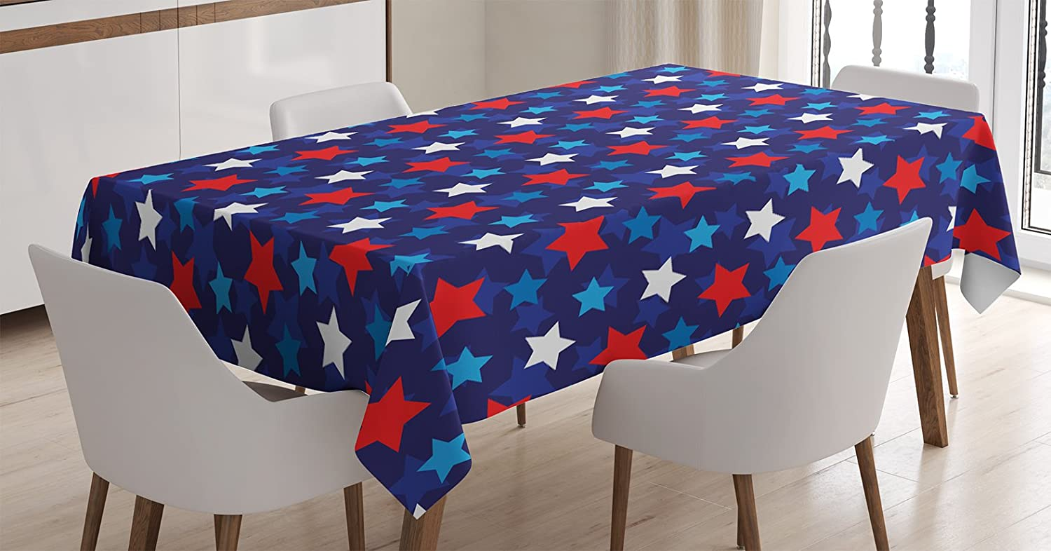 """Ambesonne Navy Blue Tablecloth, American Flag Inspired Patriotic Design with The Stars Image, Rectangular Table Cover for Dining Room Kitchen Decor, 60"""" X 84"""", Navy Blue"""