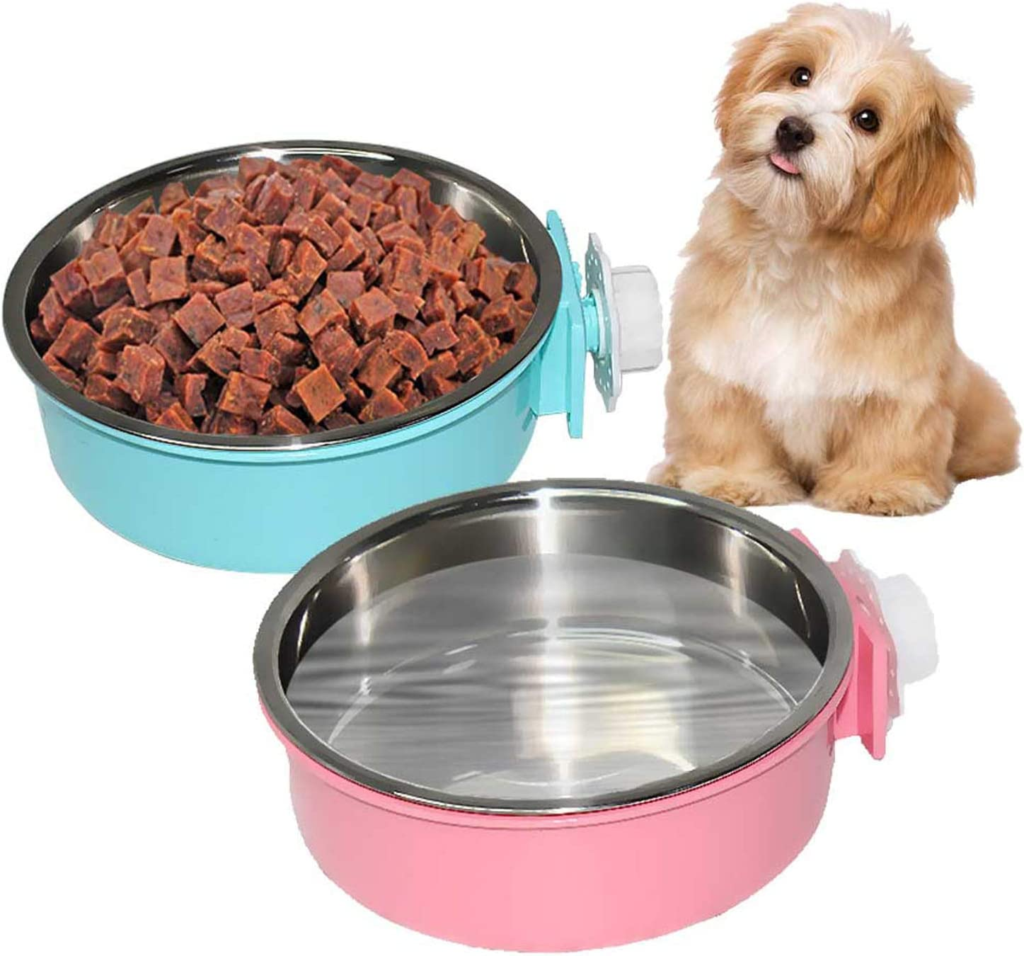 PINVNBY 2 Pcs Large Crate Dog Bowl Removable Stainless Steel Water Food Bowl Cage Hanging Pet Dish Bowls for Dog,Cat,Puppy,Guinea Pigs and Birds