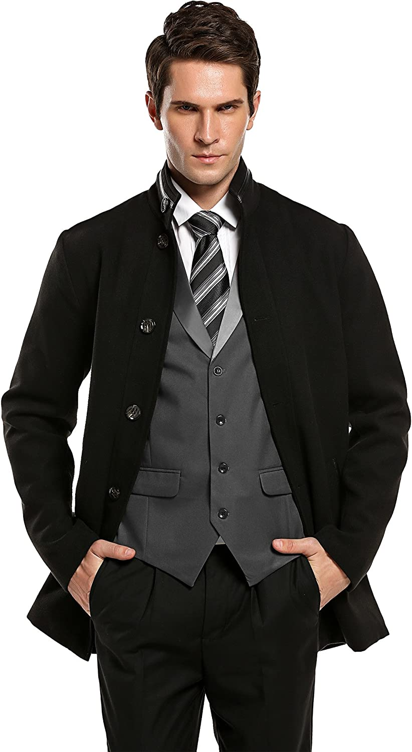 Coofandy Mens Winter Wool Blend Single Breasted Overcoat Warm Buttoned Top Coat