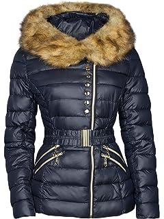 OHH Fashion Damen Winter Jacke STEPP DAUNEN Optik Fell