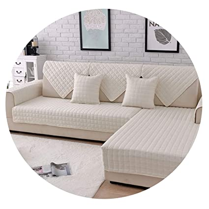 Amazon.com: Grey Pink Plaid Quilted Brushed sectional Sofa ...